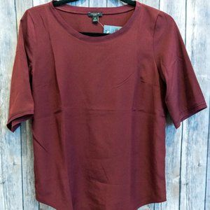 NWT Ann Taylor Red Satin Top Petite XS